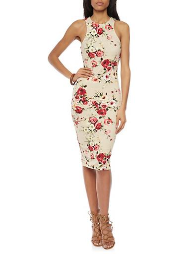 Sleeveless Floral Racerback Midi Dress,KHAKI,large