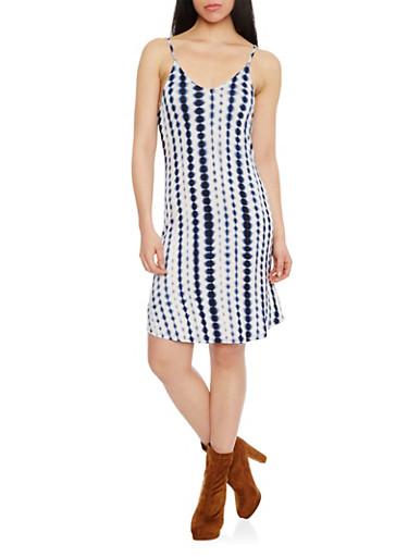 Mid Length Tie Dye V Neck Slip Dress,NAVY,large