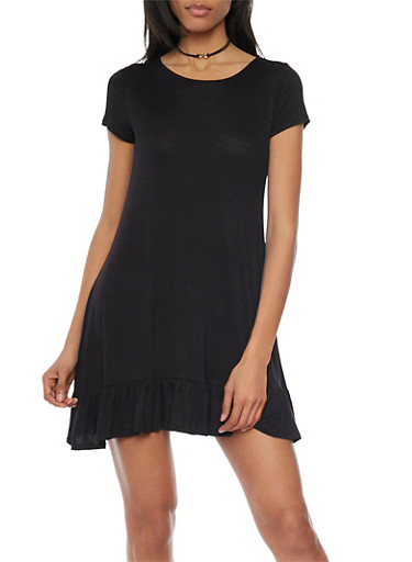 Short Sleeve Flutter Hem Shift Dress,BLACK,large