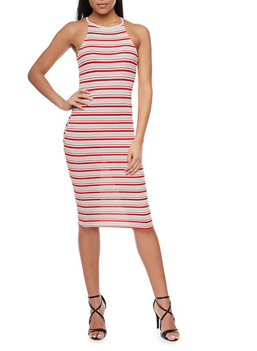 Mid Length Striped Bodycon Dress,RED,large