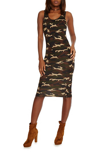 Camo Print Bodycon Tank  Dress,CAMOUFLAGE,large