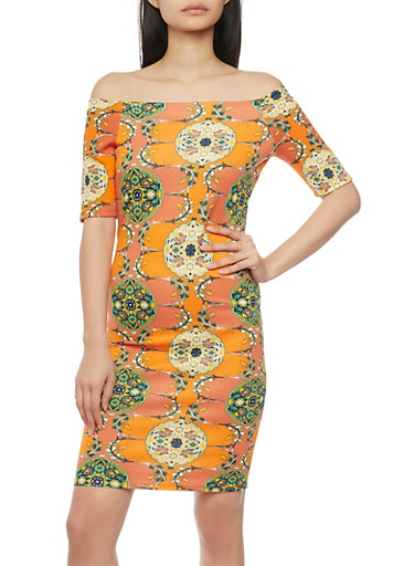 Off The Shoulder Floral Scuba Dress,ORANGE,large