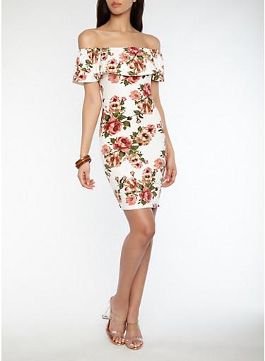 Soft Knit Floral Off the Shoulder Bodycon Dress,IVORY/ROSE,large