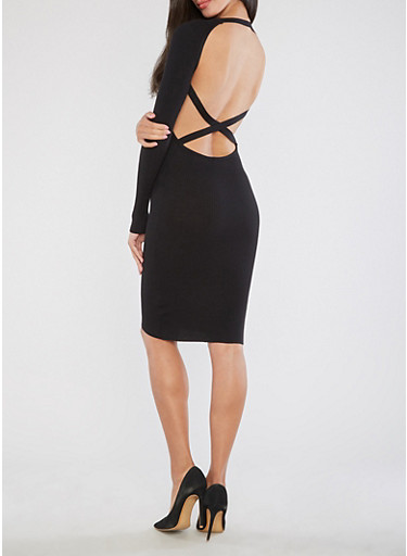 Sweater Dress with Open Back,BLACK,large