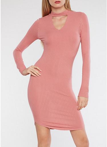 Round Hem Keyhole Midi Dress,MAUVE,large