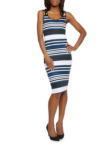 Mid Length Stripe Tank Dress,RYL BLUE/BLACK/WHITE,large