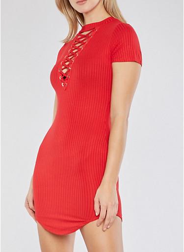 Rib Knit Lace Up T Shirt Dress,RED,large