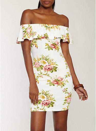 Floral Textured Knit Off the Shoulder Dress,IVORY,large