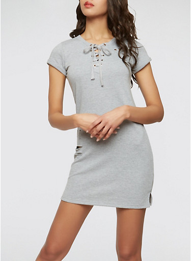 Distressed Lace Up Sweatshirt Dress,HEATHER,large