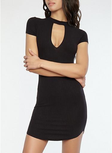 Ribbed Knit Choker Neck Dress,BLACK,large