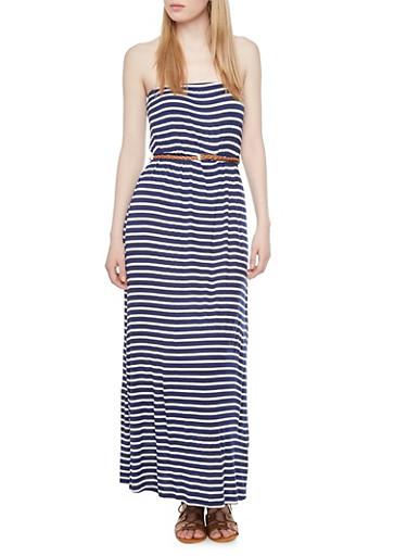 Striped Tube Maxi Dress with Braided Belt,NAVY/IVORY,large
