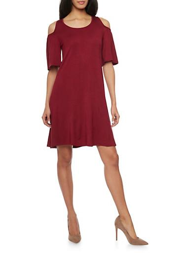 Cold Shoulder Mid Length Shift Dress,BURGUNDY,large