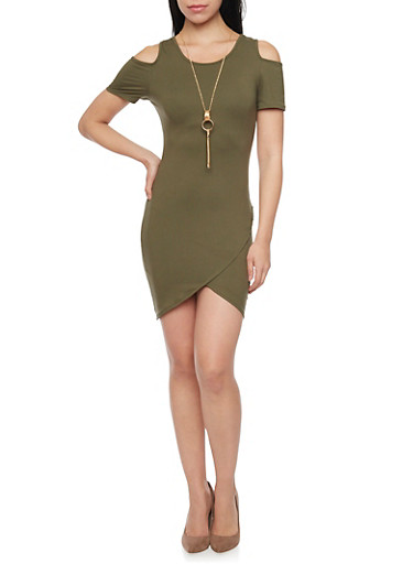 Cold Shoulder Mini Dress with Tulip Dress,SAGE,large