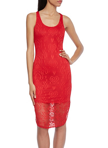 Paisley and Hearts Lace Dress with Shirttail Hem,RED,large