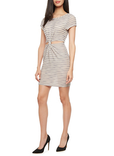 Crochet Striped Dress With Cutout Twist Waist,IVORY/NAVY,large