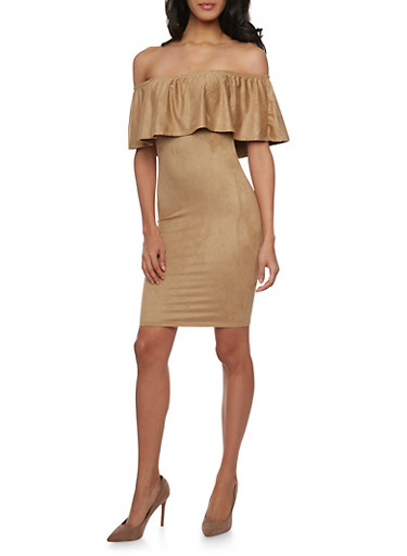 Ruffled Off the Shoulder Mini Dress in Faux Suede,CAMEL,large