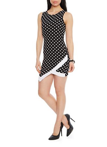 Mini Polka Dot Bodycon Dress with Envelope Hem,BLACK/WHITE,large