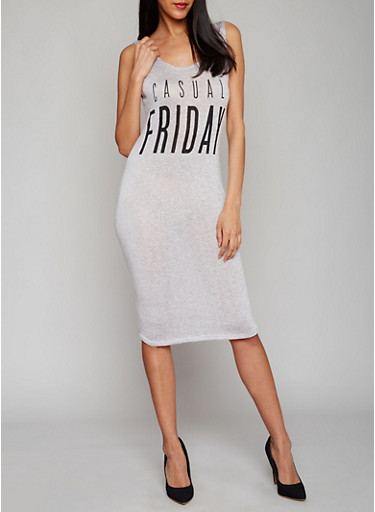 Casual Friday Graphic Tank Dress with Plunging Lace Up Back,BLACK-GREY,large