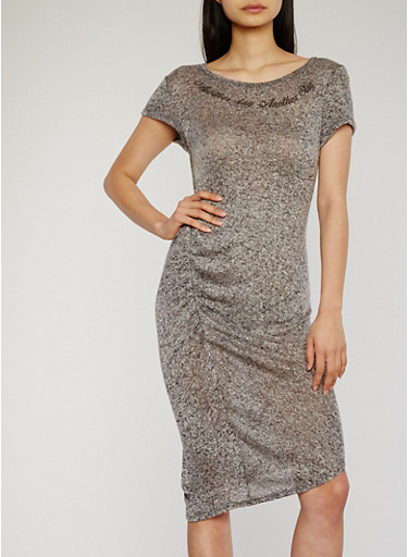 Marled Ruched Side Graphic Print Midi Dress,GREY-BLACK,large