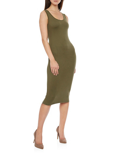 Sleeveless Midi Bodycon Tank Dress,OLIVE,large