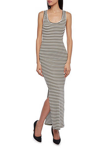 Striped Ribbed Maxi Dress with Racerback and Side Slits,OLIVE/WHITE,large