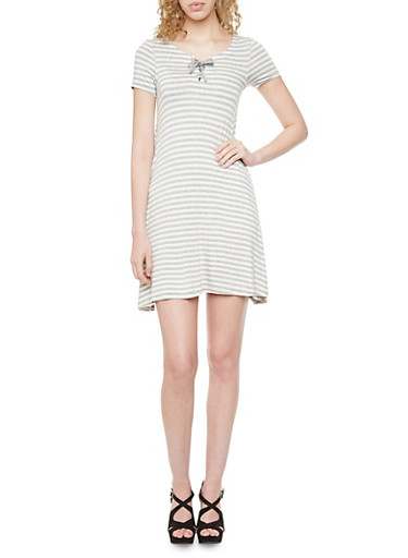 Striped Shift Dress with Lace Up Neckline,HEATHER/WHTE,large
