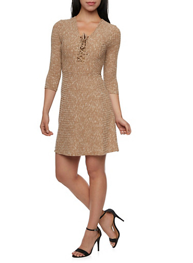 Marled Rib Knit Skater Dress with Lace Up V Neck,TOWN TAUPE,large