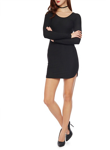 Long Sleeved Rib Knit Mini T Shirt Dress,BLACK,large