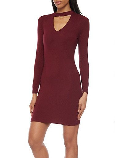 Long Sleeve Bodycon Dress with Cutout Choker Neckline,BURGUNDY,large