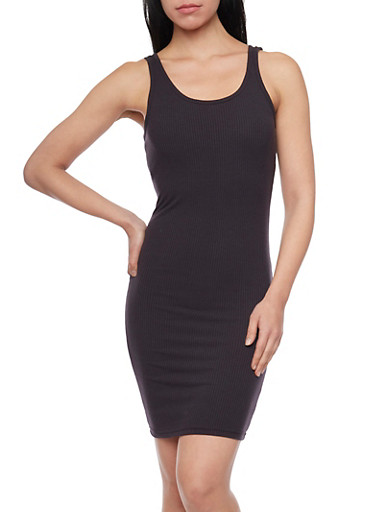 Mini Ribbed Tank Dress with Scoop Back,CHARCOAL,large