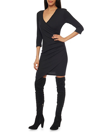 Rib Knit Wrap Front Dress with Asymmetrical Hem,BLACK,large