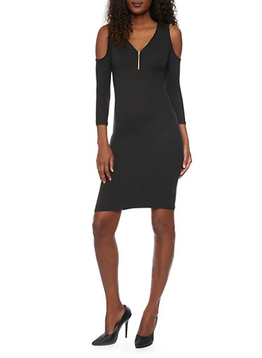 Zippered V Neck Cold Shoulder Dress,BLACK,large