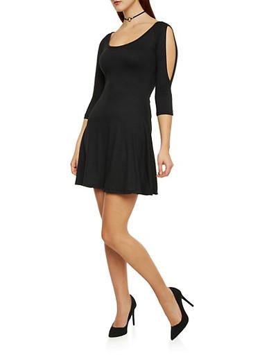 Cold Shoulder Fit and Flare Dress,BLACK,large
