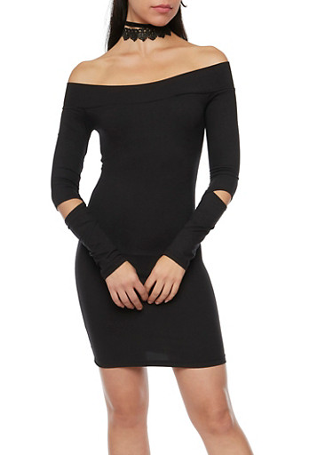 Off the Shoulder Dress with Slashed Elbows,BLACK,large