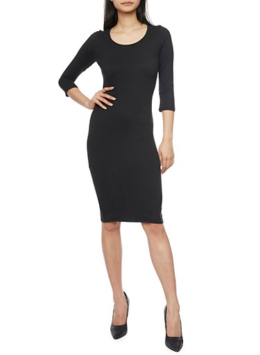 Mid Length Caged Upper Bodycon Dress,BLACK,large