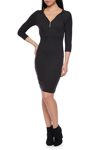 Soft Knit Midi Dress with Zip Neck,BLACK,large
