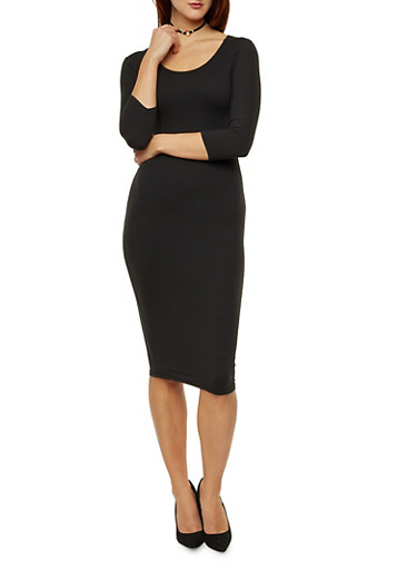 Mid Length Bodycon Dress with Scoop Neck,BLACK,large
