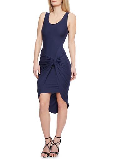 Twist Front Midi Dress,NAVY,large