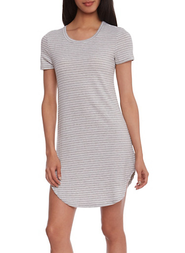 Striped Rib-Knit Shirt Dress with Short Sleeves,HEATHER,large