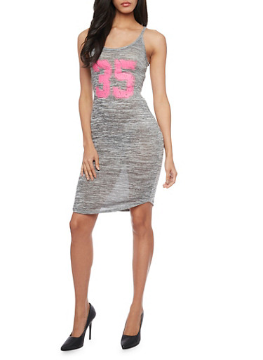 Marled Graphic Mid Length Tank Dress,NEON PINK,large