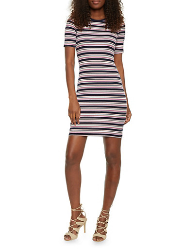 Striped Rib Knit Ringer T Shirt Dress,NAVY/MAUVE,large