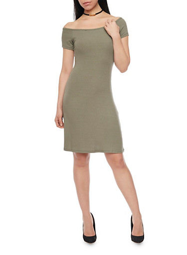 Rib Knit T Shirt Dress,OLIVE,large