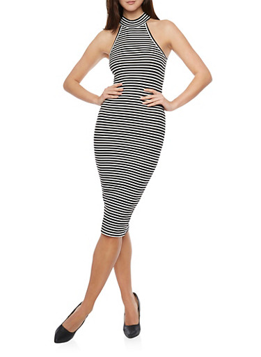 Striped Rib Knit Bodycon Midi Dress,BLACK/WHITE,large
