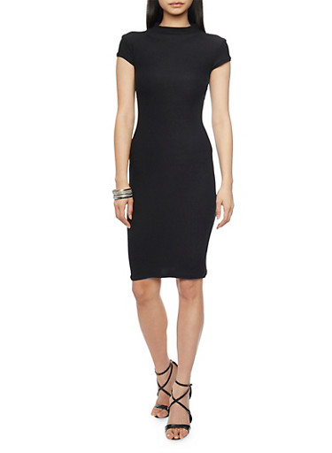Mock Neck Midi Dress with Cap Sleeves,BLACK,large