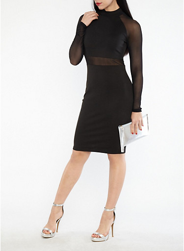 Mesh Detail Mock Neck Bodycon Dress,BLACK,large
