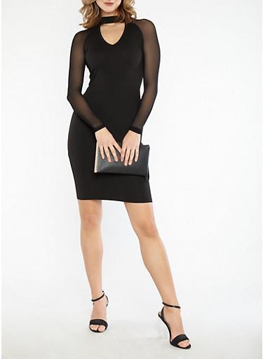 Mesh Sleeve Bodycon Midi Dress,BLACK,large