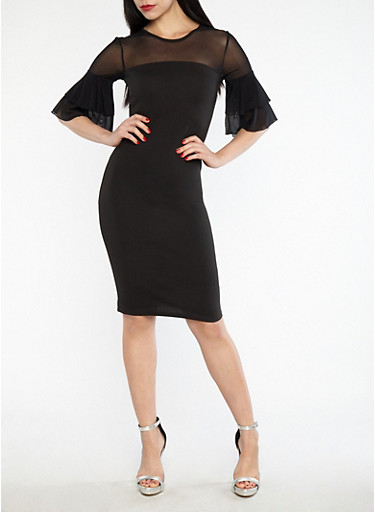 Mesh Tiered Sleeve Bodycon Dress,BLACK,large