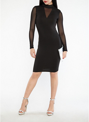 Mesh Sleeve Bodycon Dress,BLACK,large