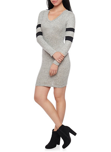 Marled Long Sleeve Bodycon Dress with Varisty Stripes,GRAY,large