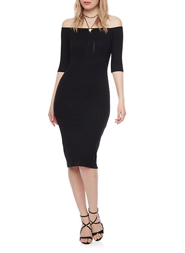 Rib Knit Off The Shoulder Midi Dress,BLACK,large